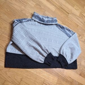 We The Free fair isle gray &navy cowl neck sweater